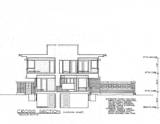 Emil Bach House, corte, North Sheridan Road, Chicago, Estados Unidos, 1915. Arquiteto Frank Lloyd Wright Desenho original Website U.S. Government<br />Redesenho J. William Rudd, 1965  [Library of Congress / U.S. Government]