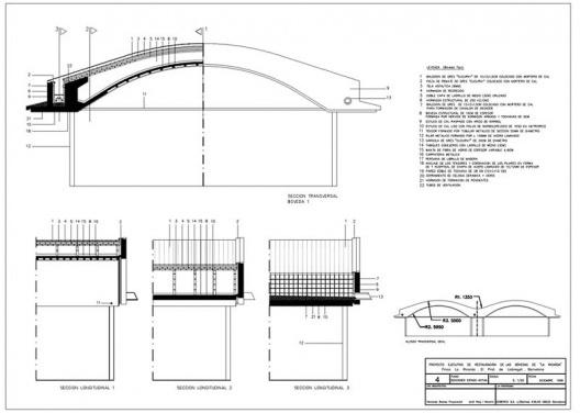 """Proyecto ejecutivo de restauración de las cúpulas de La Ricarda """", fase 1. Corta el estado actual. Arquitectos Fernando Álvarez y Jordi Roig (dibujo diciembre de 1998)"""