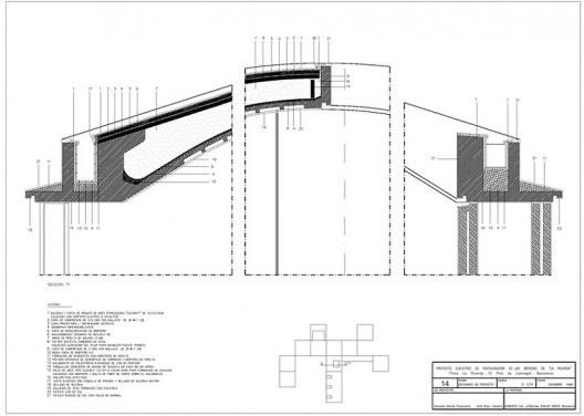 """Proyecto ejecutivo de restauración de las cúpulas de La Ricarda """", fase 1. Proyecto de Cortés. Arquitectos Fernando Álvarez y Jordi Roig (dibujo diciembre de 1998)"""