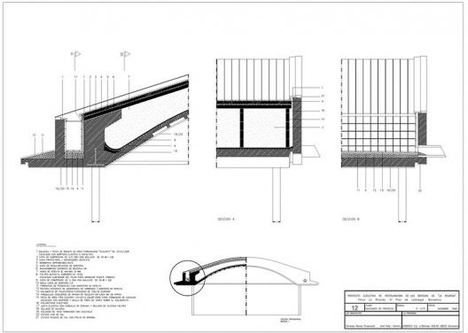 """Proyecto Ejecutivo de la restauración de las bóvedas """"La Ricarda"""", fase 1. Proyecto de Cortés. Arquitectos Fernando Álvarez y Jordi Roig (dibujo diciembre de 1998)"""