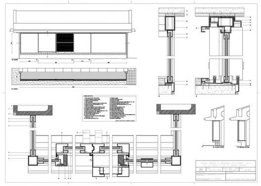 """Proyecto ejecutivo de restauración de """"La Ricarda"""", fase 2. V2 + F15 - Brass. Los detalles técnicos de los marcos. Arquitectos Fernando Álvarez y Jordi Roig (de julio de 2001)"""