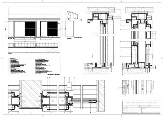 """Proyecto Ejecutivo de restauración de """"La Ricarda"""", fase 2. B1 + F17 - Brass. Los detalles técnicos de los marcos. Arquitectos Fernando Álvarez y Jordi Roig (de julio de 2001"""