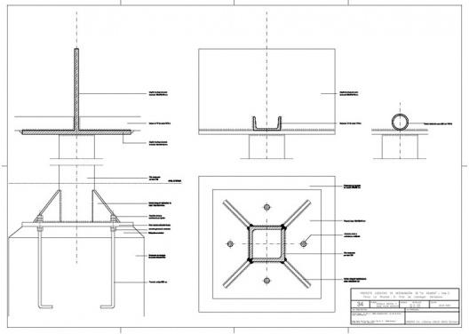 """Proyecto Ejecutivo de restauración de """"La Ricarda"""", fase 2. Detalles de la capital y la base de la columna de acero. Arquitectos Fernando Álvarez y Jordi Roig (de julio de 2001)"""