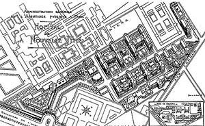 Perspectiva, Hôpital de la Pitié, 1903, Paris (de Justin Rochet). Fonte: FERMAND, C., Les hôpitaux et les cliniques. Paris: Le Moniteur, 1999, p 25