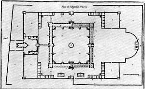 Planta, Hôpital St. Louis, 1788, Paris (de Claude Vellefaux). Fonte: FERMAND, C., Les hôpitaux et les cliniques. Paris, Le Moniteur, 1999, p 19