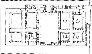 """Planta, Ospedale Maggiore, Milano, Italia (de Filarette, 1456). Fonte: CISNEROS, M. Z.. """"Manual de historia de los hospitales"""" in Revista de la Sociedade Venezoelana de Historia de la Medicina, Caracas, 2 (4), 1954, fig. 34"""