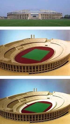 Olympiastadion, Berlim. NGM Architekten (Nedelykov Granz Moreira), 1998. Vista da cobertura, maquete com os níveis de Atletismo e Futebol