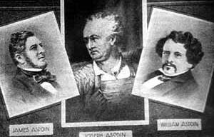 Joseph Aspdin (centro) con seus filhos