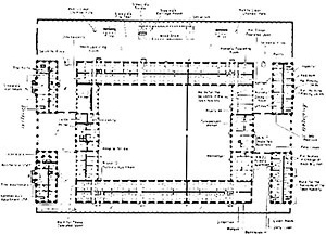 Fredericks Hospital, Copenhagen (1758), Planta pavimento térreo [THOMPSON, J. D. & GOLDIN, G.. The hospital: a social and architectural history. New Haven:]