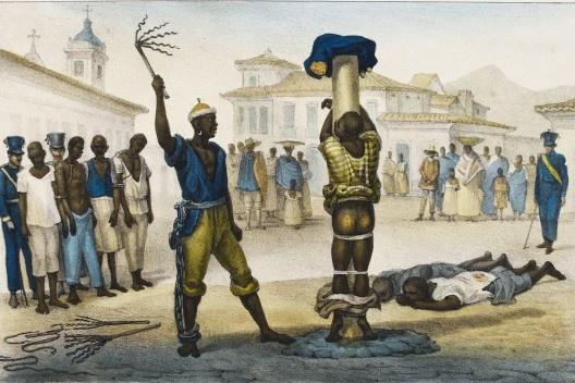 """Jean-Baptiste Debret, """"Execução da punição de açoitamento""""<br />Imagem divulgação  [Voyage Pittoresque et historique au Bresil]"""