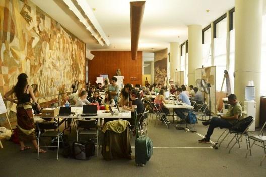 Espacio de trabajo del Labic en el Palacio Capanema<br />Foto Simón Fique