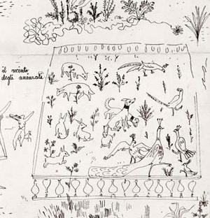 """Ilustração para contos infantis, """"o recinto para os animais"""", forma-tipo"""