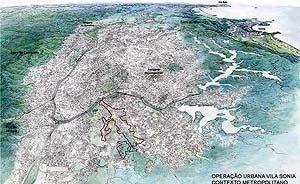 Operação Urbana Vila Sônia. Plano-Referência de Intervenção e Ordenação Urbanística. Posição e inserção metropolitana.<br />Desenho V. Keating