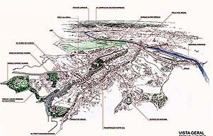 Operação Urbana Vila Sônia. Plano-Referência de Intervenção e Ordenação Urbanística. Vvista geral<br />Desenho V. Keating