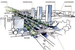 Operação Urbana Vila Sônia. Plano-Referência de Intervenção e Ordenação Urbanística. Pólo Vila Sônia: perspectiva do complexo terciário<br />Desenho V. Keating