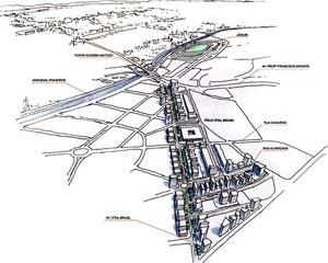 Operação Urbana Vila Sônia. Plano-Referência de Intervenção e Ordenação Urbanística. Pólo Vital Brasil: perspectiva do conjunto<br />Desenho V. Keating