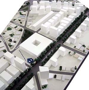 Operação Urbana Vila Sônia. Plano-Referência de Intervenção e Ordenação Urbanística. Pólo Vital Brasil: maquete do área da nova estação e complexo comercial