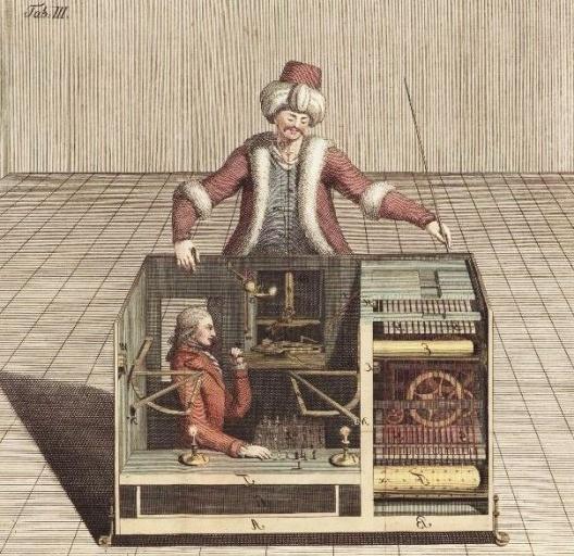 """Gravura colorida do panfleto de 1789 de Joseph Racknitz, que tentou revelar o funcionamento secreto do suposto autômato de xadrez de William Kempelen, """"The Turk""""<br />Imagem divulgação  [Wikimedia Commons]"""