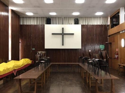 Igreja São Bonifácio, 1964-66, arquiteto Hans Broos. Sala paroquial<br />Foto Marcos José Carrilho