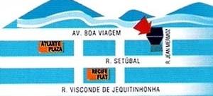 Figura 08 – Peça promocional de edifícios no bairro Setúbal. Edifício Veredas do Mar, detalhe da publicidade, com a localização do empreendimento. Vereda Incorporações [ADEMI Imóveis, edição 16, agosto, 2004, ADEMI-PE]