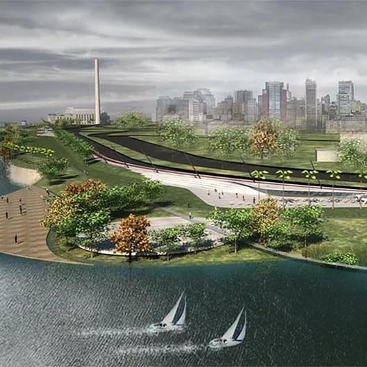 Plano conceitual do Parque Urbano da Orla do Guaíba, Porto Alegre RS, 2012-2018. Escritório Jaime Lerner Arquitetos Associados<br />Imagem divulgação  [website oficial do arquiteto]