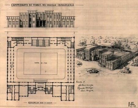"""""""Campeonato de Tênis do Parque Ibirapuera"""", 1932. Autor: Reinaldo Dierberger [Acervo Secretaria de Infra Estrutura Urbana SIURB/PMSP]"""