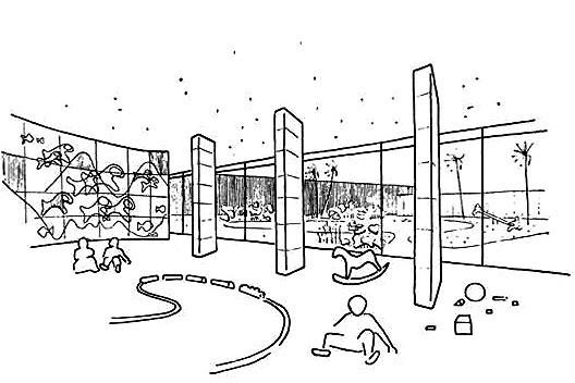 Perspectiva interna da área de recreação infantil, publicado no portfólio de vendas da época [Arquivo pessoal do sr. Roberto Dias Leal]