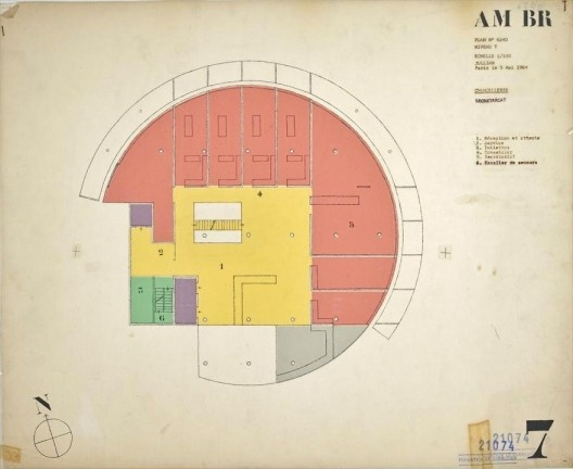 Embaixada da França, Chancelaria, planta sexto andar, Brasília, 1962-1964, arquiteto Le Corbusier<br />Imagem divulgação  [Fondation Le Corbusier]