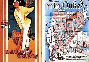 Monsieur Hulot em dois cartazes. À direita, contraste entre o flat de Hulot e a casa de seu sobrinho
