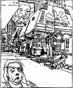 Croquis desenhado por Ridley Scott, diretor de Blade Runner  [Sammon, P., p. 72]
