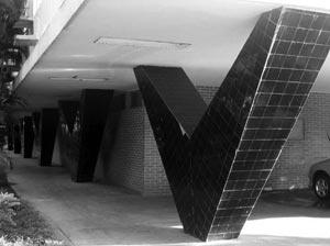Detalhe do pilar do DNOCS, onde se observa uma influência da arquitetura produzida pelo Niemeyer na época