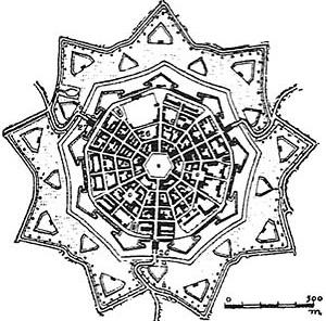 Scamozzi, Fortaleza de Palmanova, 1593 [RYKWERT, Joseph. A sedução do lugar. São Paulo, Martins Fontes, 2004]