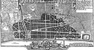 Cristopher Wren, Plano para a reconstrução de Londres, 1666 [RYKWERT, Joseph. A sedução do lugar. São Paulo, Martins Fontes, 2004]