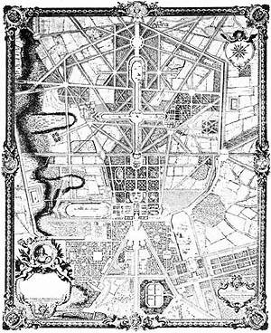 Le Nôtre, Cidade e Parque de Versailles, século XVII [BENÉVOLO, Leonardo. A história da cidade. São Paulo, Perspectiva, 1983]