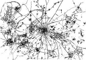 Planta do território ao redor de Paris, parques e grandes avenidas traçados no século XVII e XVIII [BENÉVOLO, Leonardo. A história da cidade. São Paulo, Perspectiva, 1983]