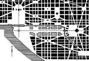P. C. L'Enfant. Plano de Washington, 1795 [PATETTA, Luciano. Historia de la arquitectura. Antología crítica. Madri, Celeste Ediciones]