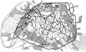 Georges Eugène Haussmann, Plano para Paris, 1851-1870. Plano indicando as novas ruas, os novos bairros e os dois grandes parques Bois de Boulogne e Bois de Vincennes [BENÉVOLO, Leonardo. A história da cidade. São Paulo, Perspectiva, 1983]