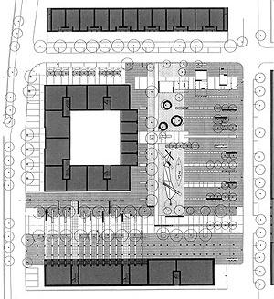 Praça Erasmo Piaggio, Roma. Planimetria do projeto. Arquitetos P. Pimpini, R. Roccatelli, A Valenti