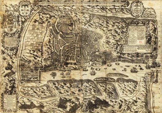A Ilha e Cidade de Goa[…], gravura de Jan Huygen Van Linschoten executada pelo gravador B. Van Doetechum em 1595 [Biblioteca Nacional de Lisboa]
