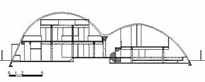 Corte da Residência Melanie Farkas, arquiteto Rodrigo Lefèvre, 1971. No corte observam-se as possibilidades de arranjo espacial proporcionado pela abóbada<br />Desenho Maurício Azenha Dias
