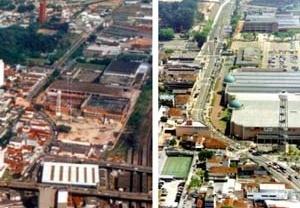 Vista aérea de situação urbana antes e depois da intervenção. Projeto Eixo Tamanduatehy, Prefeitura de Santo André