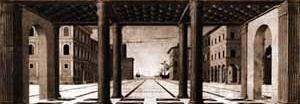 Cidade ideal baseada em Filarete. Artista anônimo italiano, final do século XV