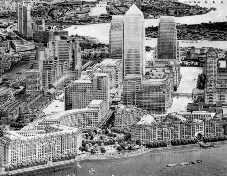 Figura 4 – O mega-projeto de 1988 para Cannary Wharf, London Docklands. Urbanismo: Skidmore,Owins & Merrill [In Ghirardo, D. 1996]
