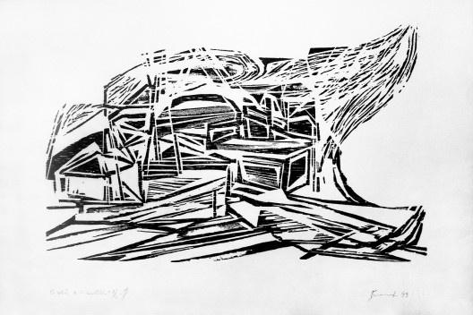 O véu e a mortalha<br />Xilogravura de Maria Bonomi