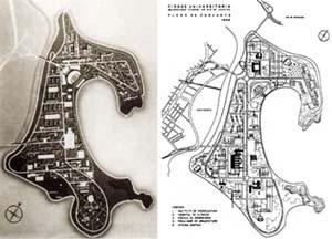 Ilha do Fundão: à esquerda, versão inicial da implantação; à direita, segunda versão da implantação