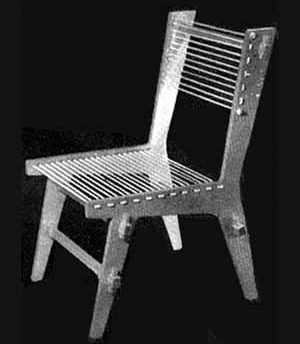 Cadeira projetada por Giancarlo Palanti em madeira compensada e corda, Studio de Arte Palma [Habitat n. 1, 1950]
