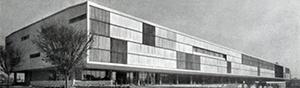 Pavilhão das Indústrias, atual Pavilhão da Bienal, Parque do Ibirapuera, SP, Oscar Niemeyer e equipe, 1953. Max Bill cita este projeto como exemplo de um 'formalismo maneirista' [Modern Architeture in Brazil, de Henrique Mindlin, 1956]