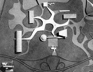 Maquete do projeto original para o Parque do Ibirapuera. 1951  [NIEMEYER, et al. Ante-Projeto da Exposição do IV Centenário de São Paulo. São Paulo, 1952]