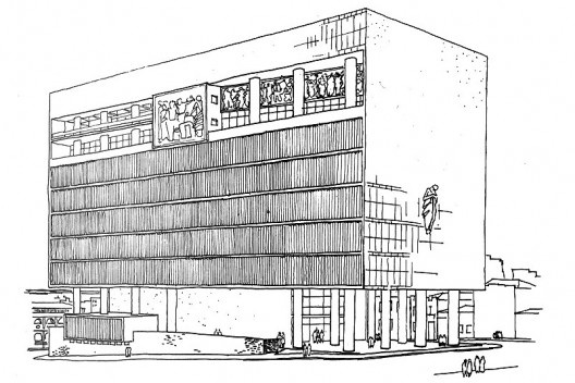 Perspectiva Concurso Palácio da Justiça, Luis F. Corona, Carlos M. Fayet, 1953 [Espaço Arquitetura, Porto Alegre, nov dez, 195?, n. 1, p. 4]