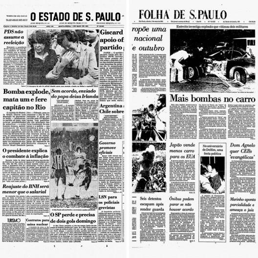 """Jornal """"O Estado de S.Paulo"""", 04 de setembro de 1974 noticia, em 01 de maio de 1981, explosão de bomba em automóvel com militares à frente do Rio Centro; a """"Folha de S.Paulo"""" noticia no dia seguinte a versão oficial do governo militar, que acusa a esquerd<br />Imagem divulgação"""